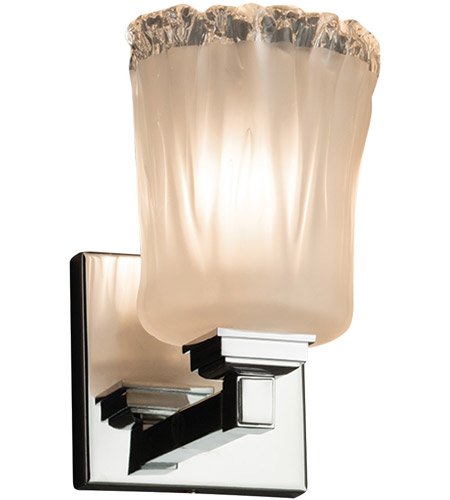 Justice Design GLA-8431-16-WTFR-CROM-LED1-700 Veneto Luce LED 5 inch Polished Chrome Wall Sconce Wall Light in 700 Lm LED, White Frosted (Veneto Luce), Cylinder with Rippled Rim photo
