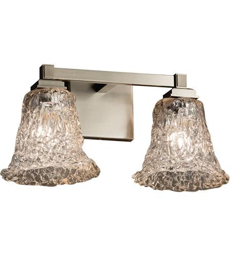 Justice Design Group Lighting GLA-8432-20-LACE-CROM-LED2-1400 Veneto Luce-Regency 2-Light Bath Bar-Round Flared Shade Lace-LED Polished Chrome
