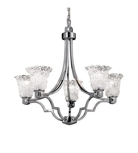 Justice Design Veneto Luce Argyle 5-Light Chandelier in Polished Chrome GLA-8500-20-LACE-CROM photo