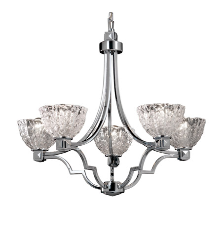 Justice Design GLA-8500-36-CLRT-CROM Veneto Luce 5 Light Polished Chrome Chandelier Ceiling Light in Clear Textured (Veneto Luce), Bowl with Rippled Rim photo
