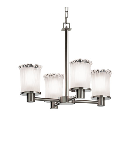 Justice Design GLA-8510-16-WTFR-NCKL Veneto Luce 4 Light 20 inch Brushed Nickel Chandelier Ceiling Light in White Frosted (Veneto Luce), Cylinder with Rippled Rim photo