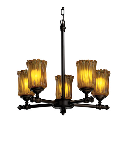 Justice Design Veneto Luce Tradition 5-Light Chandelier in Dark Bronze GLA-8520-16-AMBR-DBRZ photo