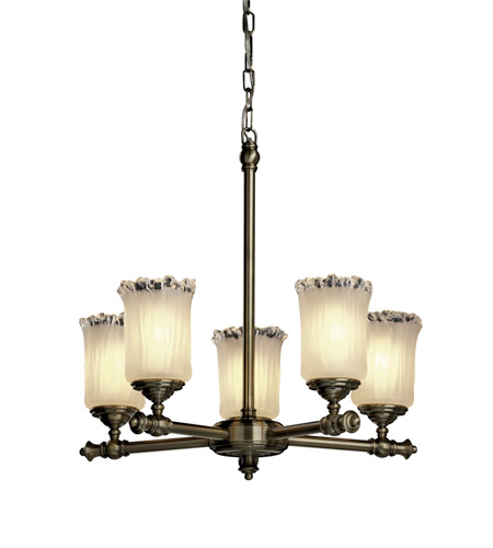Justice Design Veneto Luce Tradition 5-Light Chandelier in Antique Brass GLA-8520-16-WTFR-ABRS photo