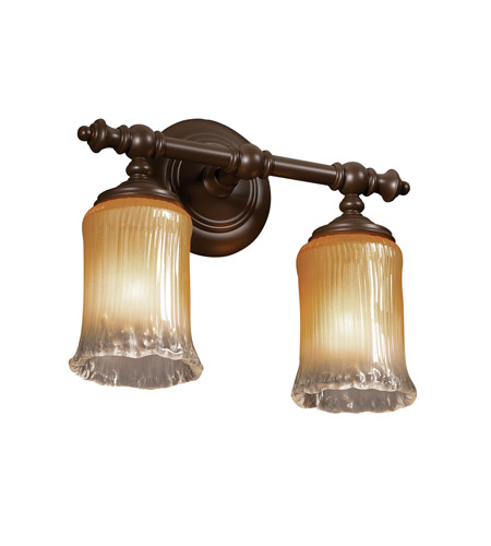 Justice Design GLA-8522-16-GLDC-DBRZ Veneto Luce 2 Light 14 inch Dark Bronze Bath Bar Wall Light in Gold with Clear Rim (Veneto Luce), Cylinder with Rippled Rim photo