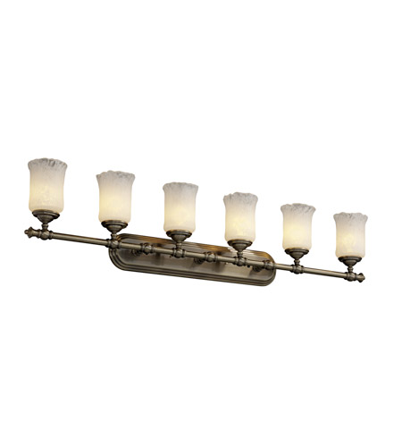 Justice Design Veneto Luce Tradition 6-Light Bath Bar in Antique Brass GLA-8526-16-WTFR-ABRS photo