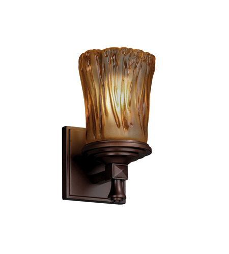 Justice Design GLA-8531-16-AMBR-DBRZ Veneto Luce 1 Light 5 inch Dark Bronze Wall Sconce Wall Light in Amber (Veneto Luce) photo
