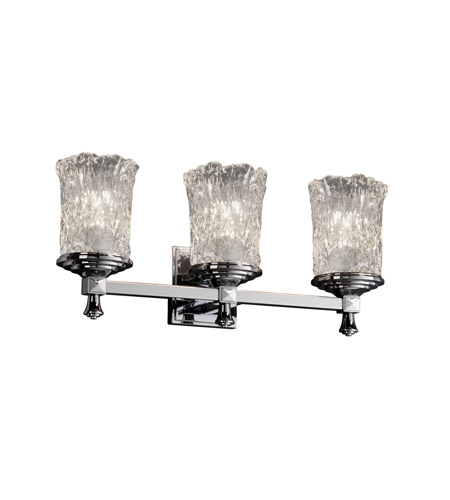 Justice Design Veneto Luce Deco 3-Light Bath Bar in Polished Chrome GLA-8533-16-CLRT-CROM photo