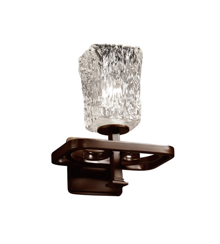 Justice Design GLA-8561-26-CLRT-DBRZ Veneto Luce 1 Light 9 inch Dark Bronze Wall Sconce Wall Light in Clear Textured (Veneto Luce), Square with Rippled Rim photo