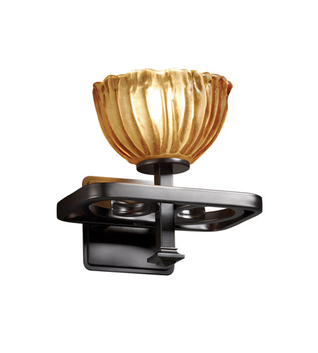 Justice Design GLA-8561-36-AMBR-MBLK Veneto Luce 1 Light 9 inch Matte Black Wall Sconce Wall Light in Amber (Veneto Luce), Bowl with Rippled Rim photo