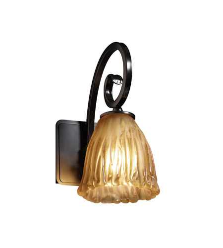 Justice Design GLA-8571-56-AMBR-MBLK Veneto Luce 1 Light 6 inch Matte Black Wall Sconce Wall Light in Amber (Veneto Luce), Tulip with Rippled Rim photo
