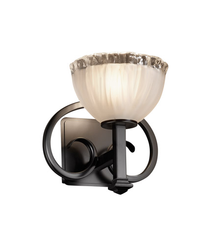 Justice Design GLA-8581-36-WTFR-MBLK Veneto Luce 1 Light 9 inch Matte Black Wall Sconce Wall Light in White Frosted (Veneto Luce), Bowl with Rippled Rim photo