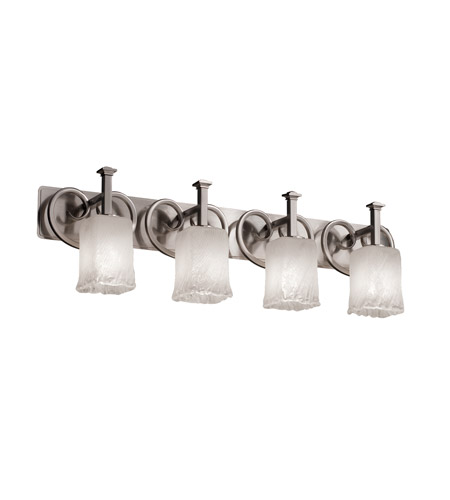 Justice Design Veneto Luce Heritage 4-Light Bath Bar in Brushed Nickel GLA-8584-26-WHTW-NCKL photo