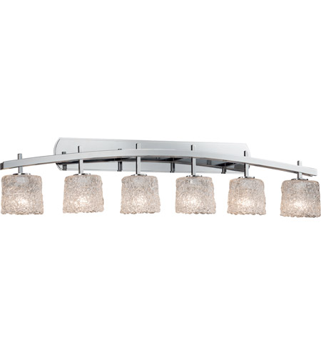 Justice Design GLA-8596-30-LACE-CROM Archway 6 Light 57 inch Polished Chrome Vanity Light Wall Light in Lace (Veneto Luce), Oval