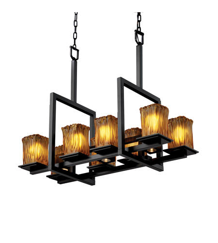 Justice Design GLA-8618-26-AMBR-MBLK Veneto Luce 11 Light 14 inch Matte Black Chandelier Ceiling Light in Amber (Veneto Luce) photo