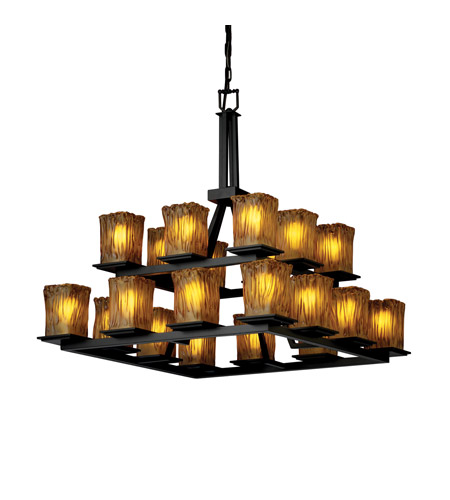 Justice Design Veneto Luce Montana 20-Light 2-Tier Ring Chandelier in Matte Black GLA-8667-26-AMBR-MBLK photo