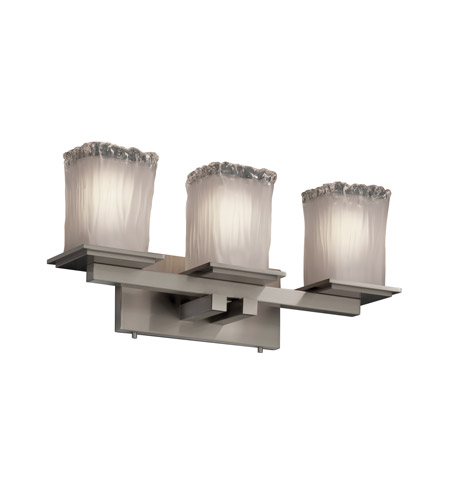 Justice Design Veneto Luce Montana 3-Light Bath Bar in Brushed Nickel GLA-8673-26-WTFR-NCKL photo