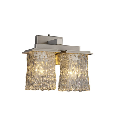 Justice Design Veneto Luce Montana 2-Light Wall Sconce in Brushed Nickel GLA-8675-26-CLRT-NCKL photo