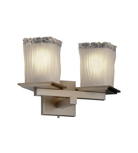 Justice Design Veneto Luce Montana 2-Light Wall Sconce (Angled Bobeche) in Brushed Nickel GLA-8680-26-WTFR-NCKL photo