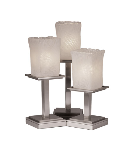 Justice Design Veneto Luce Montana 3-Light Table Lamp in Brushed Nickel GLA-8697-26-WHTW-NCKL photo