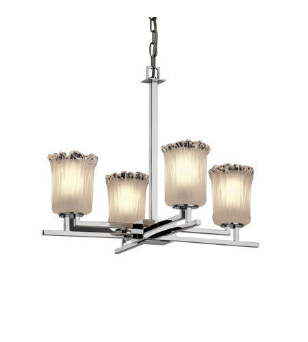 Justice Design Veneto Luce Aero 4-Light Chandelier in Polished Chrome GLA-8700-16-WTFR-CROM photo