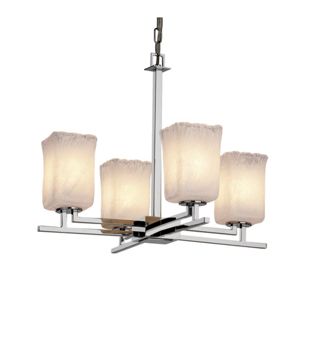 Justice Design GLA-8700-26-WHTW-CROM Veneto Luce 4 Light Polished Chrome Chandelier Ceiling Light in Whitewash (Veneto Luce), Square with Rippled Rim photo