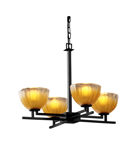 Justice Design GLA-8700-36-GLDC-MBLK Veneto Luce 4 Light 23 inch Matte Black Chandelier Ceiling Light in Gold with Clear Rim (Veneto Luce), Bowl with Rippled Rim photo