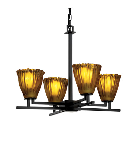 Justice Design Veneto Luce Aero 4-Light Chandelier in Matte Black GLA-8700-56-AMBR-MBLK photo