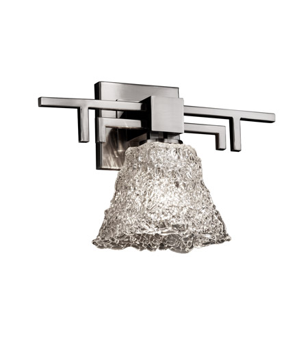 Justice Design GLA-8701-40-LACE-NCKL Veneto Luce 1 Light 14 inch Brushed Nickel Wall Sconce Wall Light in Lace (Veneto Luce), Square Flared photo