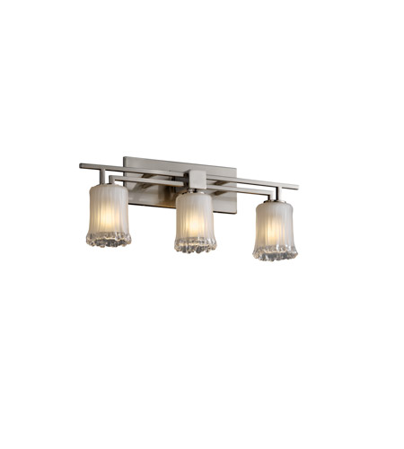 Justice Design Veneto Luce Aero 3-Light Bath Bar in Brushed Nickel GLA-8703-16-WTFR-NCKL photo