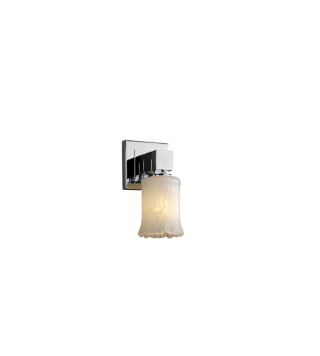 Justice Design GLA-8705-16-WHTW-CROM Veneto Luce 1 Light 5 inch Polished Chrome Wall Sconce Wall Light in Whitewash (Veneto Luce), Cylinder with Rippled Rim photo