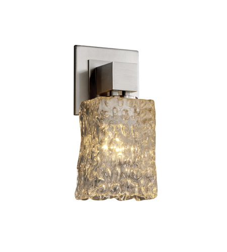 Justice Design GLA-8705-26-CLRT-CROM Veneto Luce 1 Light 5 inch Polished Chrome Wall Sconce Wall Light in Clear Textured (Veneto Luce), Square with Rippled Rim photo