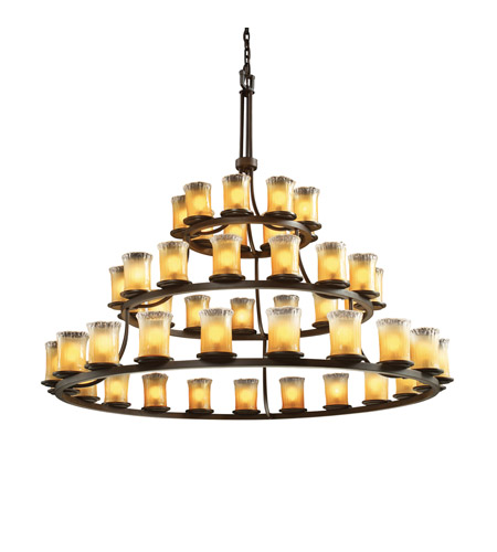 Justice Design Veneto Luce Dakota 45-Light 3-Tier Ring Chandelier in Dark Bronze GLA-8714-16-GLDC-DBRZ photo