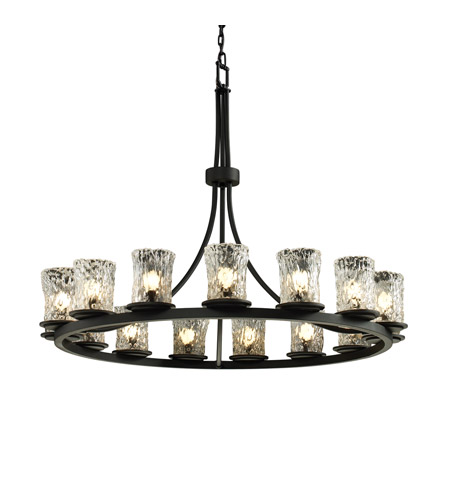 Justice Design GLA-8715-16-CLRT-MBLK Veneto Luce 15 Light Matte Black Chandelier Ceiling Light in Clear Textured (Veneto Luce) photo