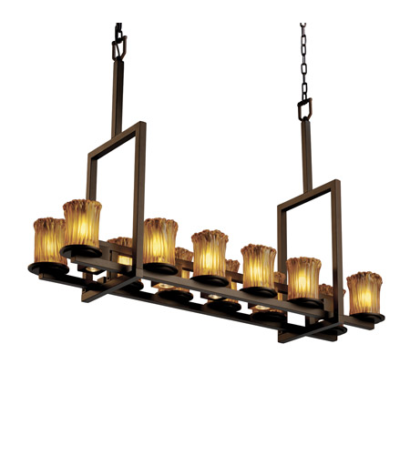Justice Design GLA-8719-16-AMBR-DBRZ Veneto Luce 17 Light 13 inch Dark Bronze Chandelier Ceiling Light in Amber (Veneto Luce) photo