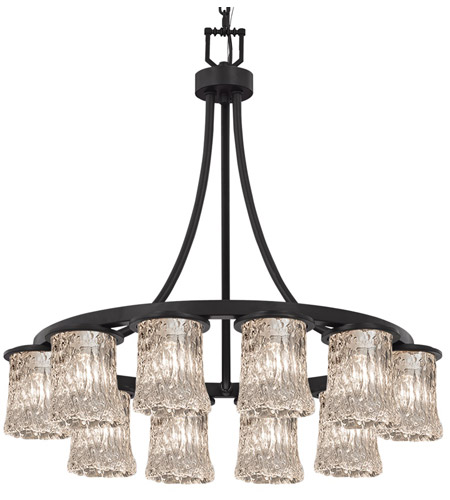 Justice Design GLA-8739-16-CLRT-MBLK-PL12-GU24-13W Veneto Luce 28 inch Matte Black Chandelier Ceiling Light photo