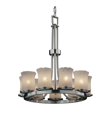 Justice Design GLA-8766-16-AMBR-NCKL-LED9-6300 Veneto Luce 9 Light 23 inch Brushed Nickel Chandelier Ceiling Light photo