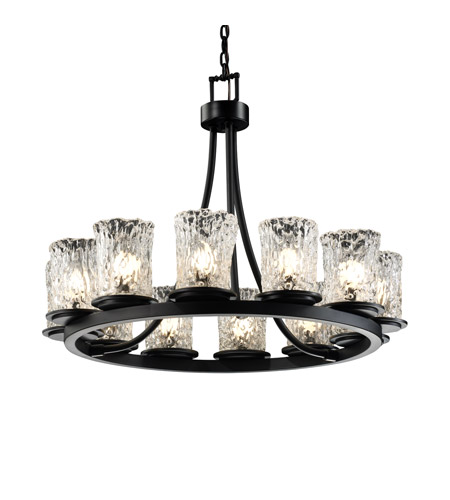 Justice Design GLA-8768-16-CLRT-MBLK Veneto Luce 12 Light 28 inch Matte Black Chandelier Ceiling Light in Clear Textured (Veneto Luce) photo