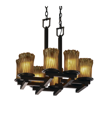 Justice Design Veneto Luce Dakota 8-Light Zig-Zag Chandelier in Dark Bronze GLA-8770-16-AMBR-DBRZ photo