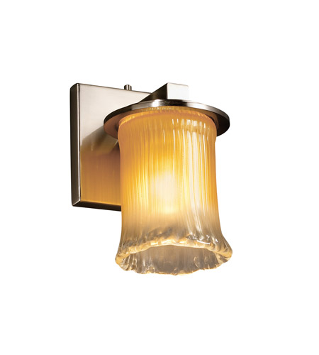 Justice Design GLA-8771-16-GLDC-NCKL Veneto Luce 1 Light 5 inch Brushed Nickel Wall Sconce Wall Light in Gold with Clear Rim (Veneto Luce) photo