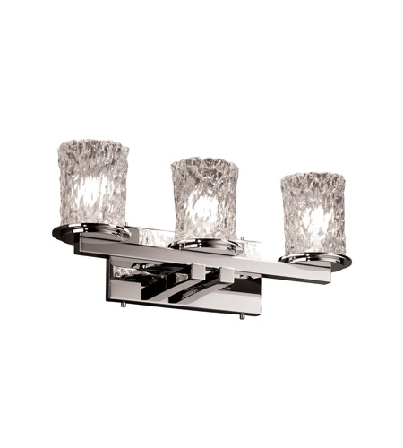 Justice Design GLA-8773-16-CLRT-CROM Veneto Luce 3 Light 21 inch Polished Chrome Bath Bar Wall Light in Clear Textured (Veneto Luce) photo