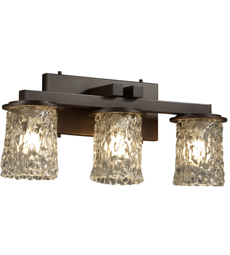 Justice Design GLA-8773-16-CLRT-DBRZ Veneto Luce 3 Light 21 inch Dark Bronze Bath Bar Wall Light in Clear Textured (Veneto Luce) photo