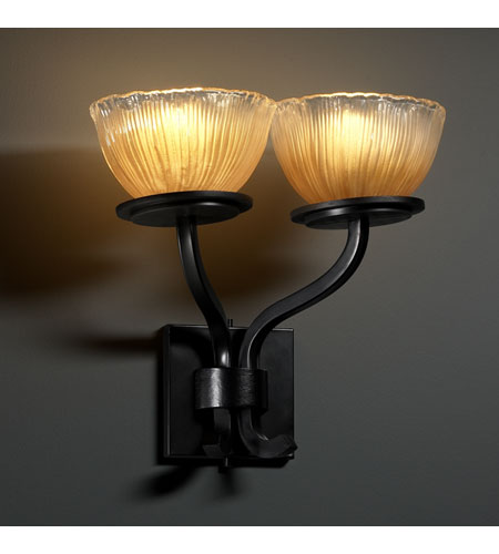 Justice Design GLA-8782-36-GLDC-MBLK Veneto Luce 2 Light 15 inch Matte Black Wall Sconce Wall Light in Gold with Clear Rim (Veneto Luce), Bowl with Rippled Rim photo