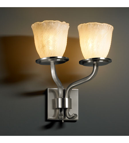 Justice Design Veneto Luce Sonoma 2-Light Wall Sconce (Short) in Brushed Nickel GLA-8782-56-WHTW-NCKL photo