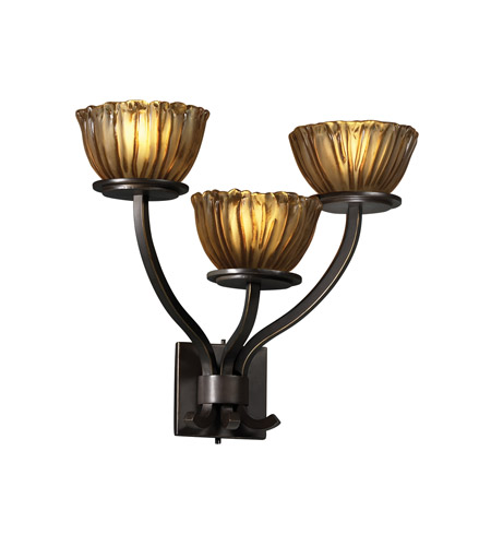 Justice Design GLA-8783-36-AMBR-DBRZ Veneto Luce 3 Light 21 inch Dark Bronze Wall Sconce Wall Light in Amber (Veneto Luce), Bowl with Rippled Rim photo