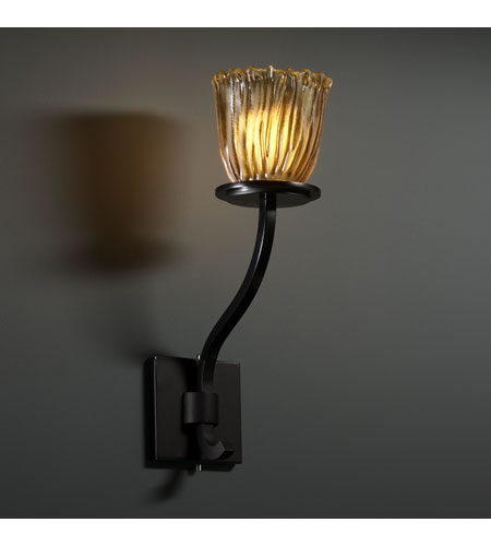 Justice Design Veneto Luce Sonoma 1-Light Wall Sconce (Tall) in Matte Black GLA-8784-56-AMBR-MBLK photo