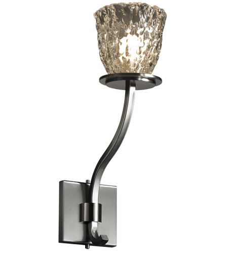 Justice Design Veneto Luce Sonoma 1-Light Wall Sconce (Tall) in Brushed Nickel GLA-8784-56-CLRT-NCKL photo