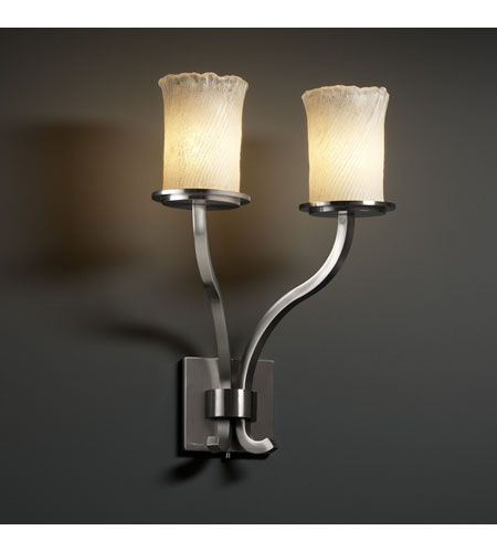 Justice Design Veneto Luce Sonoma 2-Light Wall Sconce (Tall) in Brushed Nickel GLA-8785-16-WHTW-NCKL photo