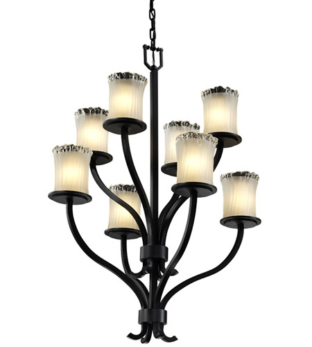 Justice Design Veneto Luce Sonoma 8-Light 2-Tier Chandelier in Matte Black GLA-8788-16-WTFR-MBLK photo