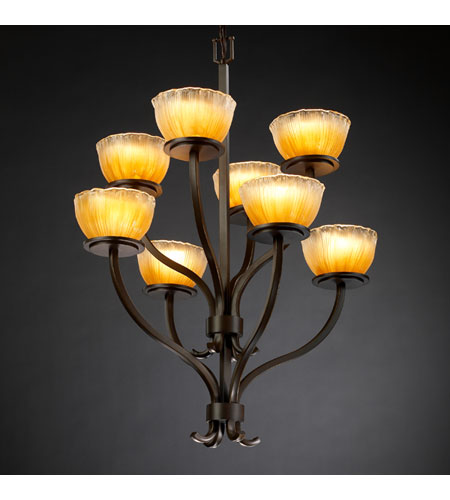 Justice Design Veneto Luce Sonoma 8-Light 2-Tier Chandelier in Dark Bronze GLA-8788-36-GLDC-DBRZ photo