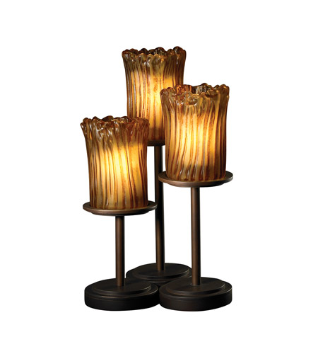 Justice Design Veneto Luce Dakota 3-Light Table Lamp in Dark Bronze GLA-8797-16-AMBR-DBRZ photo
